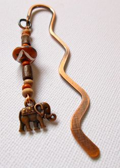 Copper Mini Wavy Bookmark with Ethnic Beads & Nepalese Elephant Charm - Length 8.5cm approx by NomvulaCrafts on Etsy