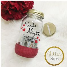 Date Night Fund Bank Mason Jar Bank Glitter Bank Glitter Cup Date... ($18) ❤ liked on Polyvore featuring home, home decor, small item storage, home & living, home décor, silver, money piggy bank, money box, money bank and handmade home decor