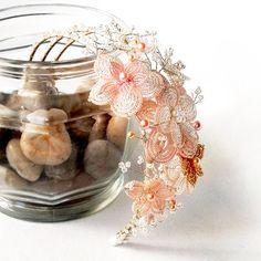 CLEARANCE French Beaded Flowers HEADBAND glass di AncaPeelma