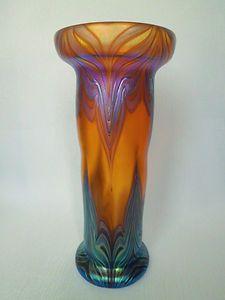 Art Nouveau Bohemian Art Glass Vase