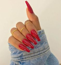 Red manicure with design for long nails nails, nails acrylic Acrylic Nails Natural, Red Acrylic Nails, Acrylic Nail Designs, Nail Art Designs, Red Manicure, Red Nails, Hair And Nails, Stars Nails, Homecoming Nails