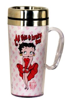 Betty Boop Insulated Travel Mug Go to: http://amzn.to/1JbwmeM This Insulated Travel Mug is great for anyone on the go. It holds 15 ounces and keeps your drink warm or cold with the double walled,...