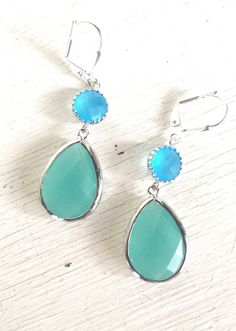Aqua Mint and Ocean Blue Dangle Earrings in Silver. by RusticGem