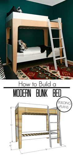 How To Build Modern Bunk Beds. Utilize Free Building Plans To Make A Set Of Bunk Beds With Minimalist Design. Bunk Beds For Boys Room, Bunk Beds With Stairs, Kid Beds, Bed Rooms, Loft Beds, Modern Bunk Beds, Adult Bunk Beds, Bunk Bed Plans, Murphy Bed Plans