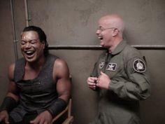 Christopher Judge and Gary Jones laughing on set. < I really love this photo :) Sci Fi Shows, Tv Shows, Best Sci Fi Series, Tv Series, Gary Jones, Rhona Mitra, Stargate Universe, Michael Shanks, Stargate Atlantis