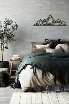 Metal Wall Art Geometric Mountains Steel Home Decor Interior - Metal Wall Art Geometric Mountains Steel Home Decor Interior Sign Scandi Decor Idea Gift Living Room Stencil Hanging Mountain Range May Cool Tdc Eadie Lifestyle Winter Styling Kayla Gex Photo Gray Bedroom, Trendy Bedroom, Bedroom Inspo, Home Decor Bedroom, Bedroom Ideas, Industrial Bedroom Decor, Woodsy Bedroom, Bedroom Furniture, Bedroom Neutral
