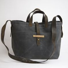 Large Waxed Canvas Tote in Slate