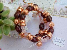 Bracelet wire wrapped Healing Semi Precious - Rose Quartz w/ Rose Gold accents