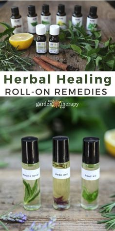 Roll-on remedies are a quick and natural first line of defense against common (yet super annoying) ailments: headaches, disrupted sleep, and cold and flu viruses. They use high concentrations of herbs in a gentle dilution of oil that are convenient to use. Today I'll share the three recipes that I turn to so I can avoid popping pills. #gardentherapy #aromatherapy #cold #essentialoils #flu #headache #herbs #insomnia #sleep
