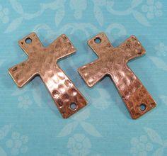 6 Copper Hammered Crosses Sideways Cross Charm 38mm x 28mm (42476) Antiqued Bracelet Bar Connector 2 Hole Jewelry Supplies Accessory Bulk by beadgiant on Etsy https://www.etsy.com/listing/122526497/6-copper-hammered-crosses-sideways-cross