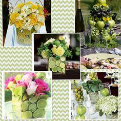 green fruit wedding party centerpieces