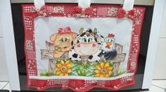 Pintado com patch aplique feito a maquina, para fogão de 4,5,6 bocas,alças presa com velcro. R$ 30,00