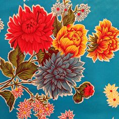 Oilcloth tablecloth / blue