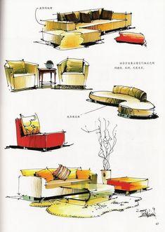 Design Furniture Sketches Inspiration Design Furniture Sketches Inspiration is a part of our furniture design inspir Interior Design Renderings, Drawing Interior, Interior Rendering, Interior Sketch, Detail Architecture, Plans Architecture, Architecture Drawings, Interior Architecture, Classical Architecture