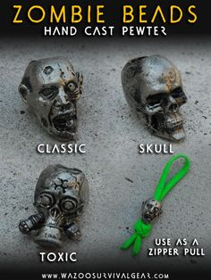 Undead head! Molded pewter beads add custom detail to your DIY paracord projects. From lanyards to bracelets, use quality Wazoo Survival Gear components.