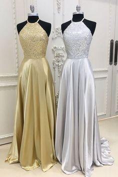Sexy Prom Dress,Halter Prom Dress,Shiny Beading Prom Dress,A-line Evening Dress