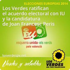 Los Verdes ratifican el acuerdo electoral con IU y la candidatura de Joan Francesc Peris para las Elecciones Europeas 2014