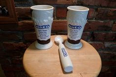 Two Oreo milk shake footed ceramic mugs by Houston Harvest, Oreo Milkshake mugs, Vintage Oreo Mugs, Vintage Nabisco by Morethebuckles on Etsy