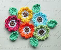 Crochet flower set Retro