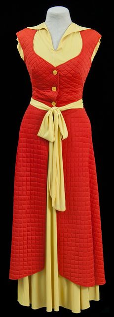 Circa 1950s orange and yellow lounge wear ensemble with a quilted cropped vest, a sleeveless top, quilted skirt, and a slip. Made by Munsingwear Incorporated, a company based in Minneapolis, Minnesota. (So completely adore!!!) #vintage #1950s #dress #loungewear #fashion