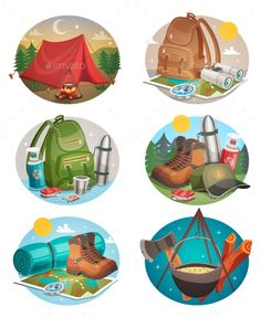 Buy Camping Round Compositions Set by macrovector on GraphicRiver. Camping set of round compositions with tent bonfire backpack and boots compass and map isolated vector illustration.