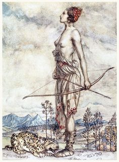 "oldbookillustrations: "" The huntress Dian. Arthur Rackham, from Comus, by John Milton, New York, London, 1921. (Source: archive.org.) """