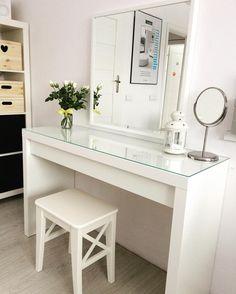 Minimal Ikea 'Malm' Dressing Table.   Vanity Table Ideas