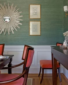 Love the combination of wallpaper and wainscoting for dining room walls. This particular combination of colors is very interesting and bold. I like it