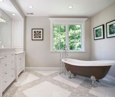 Benjamin Moore Edgecomb Gray HC-173 has a warm beige undertone perfect for the bath.