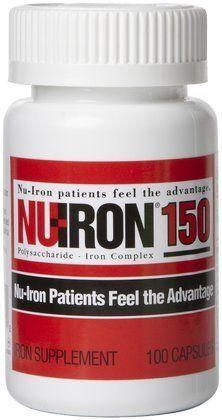 Nu-Iron Iron Caps, 100 ct by Nu-Iron. $58.39. NU-IRON® 150 is an over the counter product available at the pharmacy. It is indicated for uncomplicated iron deficiency anemia. NU-IRON® 150 is a capsule that can be taken once or twice a day and contains 150 mg of Elemental Iron (as a polysaccharide-iron complex). NU-IRON® 150 contains more elemental iron than many other iron supplements and can generally be taken once-a-day. NU-IRON® uses a polysaccharide-iron comp...