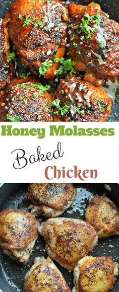 This honey molasses baked chicken recipe is sweet, savory, crispy, and delicious. Even my most picky eater loved it and asked for more. Keep reading to find out how to make it!