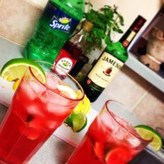 """""""The Sneaky Stanley"""".... This drink sneaks up on you.  3 oz Jameson (or however much you need;) 1 oz grenadine (Gren-uh-dean!) Squeezes of lemon & lime to your taste Top it off with sprite Then drink till ya stink, And can't find the sink!"""