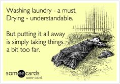 Washing laundry - a must. Drying - understandable. But putting it all away is simply taking things a bit too far.