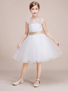 04e26a30 White Junior Bridesmaid Dresses,Short Flower Girl Dress,Girl Birthday Dress ,BD00014