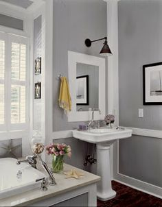 Sherwin Williams Requisite Gray; love the contrast between the white and gray