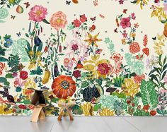 Cream Garden Wallpaper - Nathalie Lété Domestic Children- A large selection of Design on Smallable, the Family Concept Store - More than 600 brands. Scenic Wallpaper, Print Wallpaper, Pattern Wallpaper, Beige Wallpaper, Graphic Wallpaper, Fabric Wallpaper, Windows Wallpaper, Beautiful Wallpaper, Garden Wallpaper