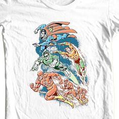 Justice-League-T-shirt-Superman-The-Flash-Aqua-Man-cotton-tee-DC-comics-DCO238