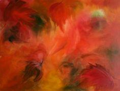 Foglie d'autunno - acquarello su carta bagnata