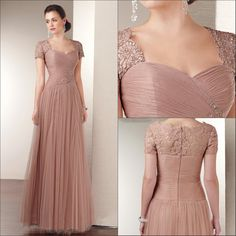 2014 Custom Made Champagne A-line Short Sleeve Floor-length Appliques Ruffle Lace Mother of the Bride Dresses Chiffon AL-7841