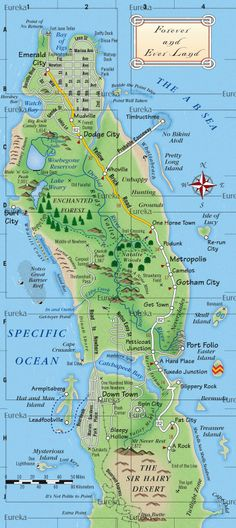 Illustrative map for children's game © Eureka Cartography, Berkeley, CA