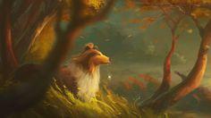 Скачать обои собака, колли, art, лес, деревья, ветер, раздел живопись в разрешении 1920x1080