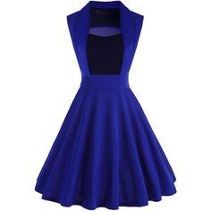 Blue XL Patchwork Knee Length Vintage Dress ❤ liked on Polyvore featuring dresses, vintage dresses, patchwork dress, blue dress, knee high dresses and blue color dress