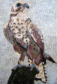 AN077 Marble Mosaic Falcon Tile