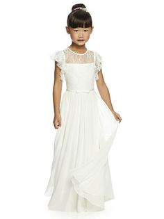 Dessy Flower Girl gown FL 4046 is shown in Ivory and a size 12.