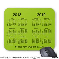 Class of 2018 Yellowgreen Calendar by Janz Mouse Pad Custom Calendar, Art Calendar, Calendar Design, Business Thank You Cards, January February March April, Holiday Calendar, Class Of 2018, 52 Weeks, Custom Mouse Pads