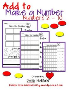 Add to Make a Number: There are 18 pages of practice in this set.  Use them for guided and independent practice with your students.