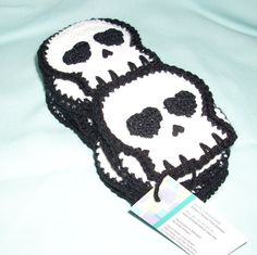 Crocheted Skull SCARF Made To Order by KellyzKreationz on Etsy, $46.00