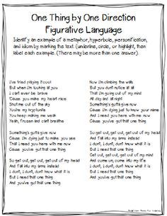 "Tunes Tuesday: ""One Thing"" - figurative language by Head Over Heels for Teaching Teaching Poetry, Teaching Literature, Teaching Grammar, Teaching Language Arts, Teaching Writing, Student Teaching, Speech And Language, Teaching Ideas, Teaching Tools"