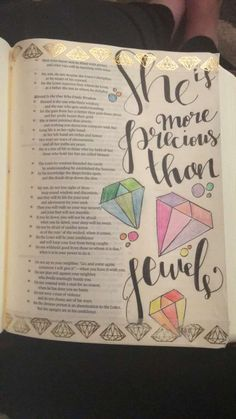 @Shayna_danae She is more precious than jewels Bible journaling Illustrated faith Scripture doodles