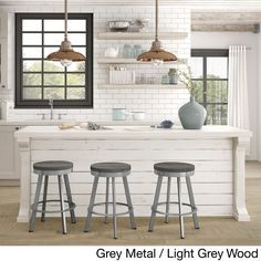 Carbon Loft Murdock Swivel Metal Counter Stool with Distressed Wood Seat (Powder Coated/Wood Finish/Glossy/Metal Finish/Distressed/Steel Finish - Grey Metal/Beige Wood) New Kitchen, Kitchen Decor, Hotel Kitchen, Kitchen Tables, Wooden Kitchen, Kitchen Island, Kitchen Cabinets, Metal Wood, Metal Counter Stools